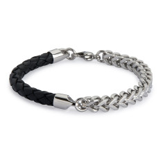 Armour black leather and steel bracelet