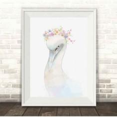 Swan Watercolour Illustration Print