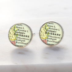Brisbane city map silver cufflinks