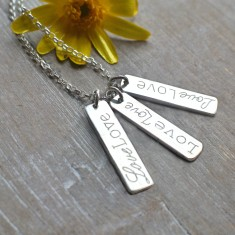 Personalised sterling silver bars Love necklace