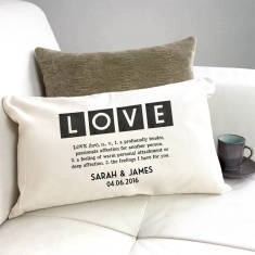 Personalised Vintage Style Definition Of Love Cushion