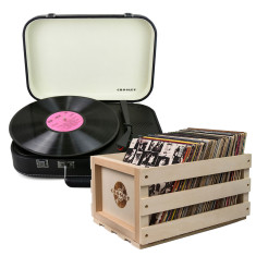 Crosley Coupe Turntable Black + Storage Crate Bundle