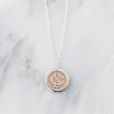 Sterling Silver And Rose Gold Entwined Monogram Necklace