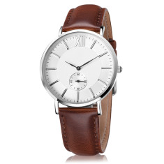 Engraved personalised men's watch with leather band (brown and white)