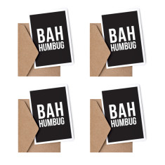 Bah Humbug Christmas Card - Set of 4 Christmas Cards