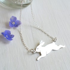 Personalised Sterling Silver Running Bunny Necklace