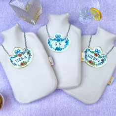 Gin, Vodka or Sherry Decanter Label hot water bottle covers (various colours)