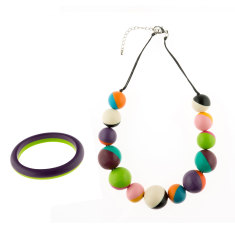 Wonderland 2 tone short necklace + bangle matching set