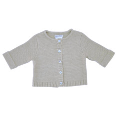 Wave knit cotton baby cardigan in oatmeal