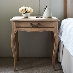 Oak French-style bedside table