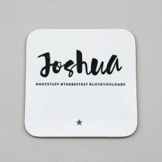 Personalised Monochrome #Hashtag Coaster