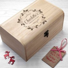 Personalised Christmas Eve Chest With Mistletoe Wreath