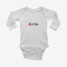 Personalised Name printed long sleeve baby onesie