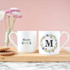 Personalised Monogram Wreath Bone China Mug