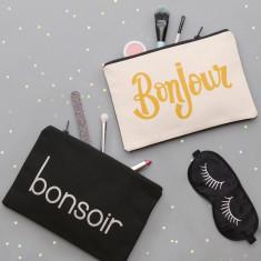 Bonjour/Bonsoir Double Sided Pouch