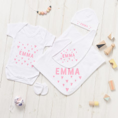 Personalised New Baby Hearts Gift Set