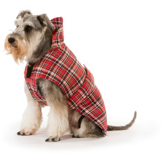 Tartan red dog coat