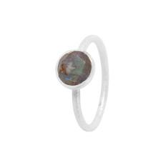 Cupcake Smaller Ring In Silver With Labradorite