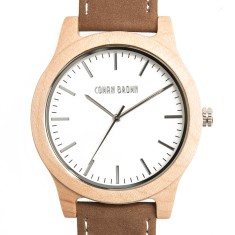 Newman maple wood and suede watch