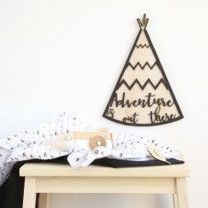 Adventure is out there tee-pee tribal/boho wooden monochrome wall art