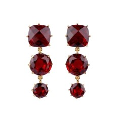 Ruby diamantine three stones earrings