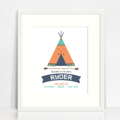Teepee Personalised Birth Print