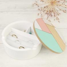Round Geometric Patterned Jewellery Box