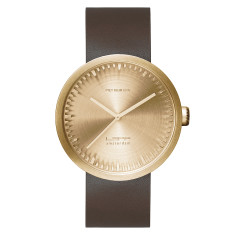 LEFF Amsterdam tube watch D42 with brown leather strap brass finish