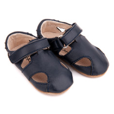 Pre-walker leather Sunday sandals in navy