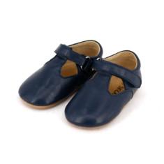 Pre-walker leather t-bar shoes in navy blue