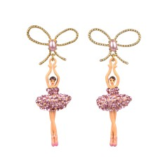 Ballerina bow earrings - Sparkling Pink