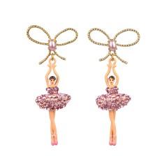 Ballerina bow earrings - Sparkling Pink
