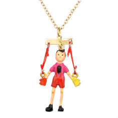 Pinocchio puppet necklace