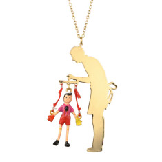Pinocchio puppet and Gepetto long necklace