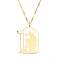 Pinocchio in his cage necklace