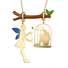 Pinocchio and fairy long necklace