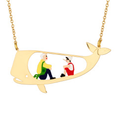 Pinocchio and Gepetto In The Whale Necklace