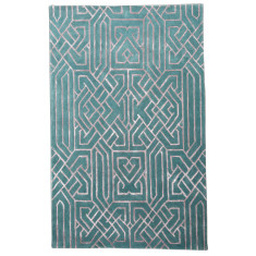 Sea blue designer hand tufted wool & art silk rug
