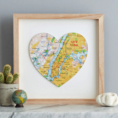 New York map heart print