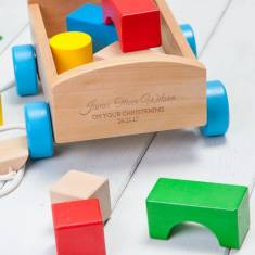 Personalised Pull Along Wooden Building Blocks Wagon