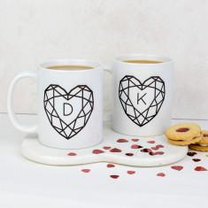 Jewelled Heart Personalised Ceramic Mug Set
