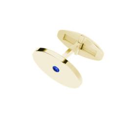 Oval Yellow Gold Cufflinks Blue Sapphire