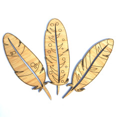 Set of 3 etched bamboo feathers