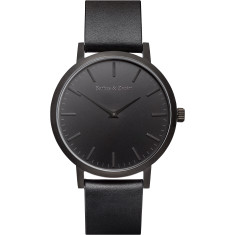 Barbas & Zacari Midnight Black Leather Watch - Unisex