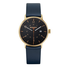 Gold 39mm watch with sea blue leather band
