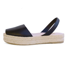 Pablo Leather Espadrille in Black