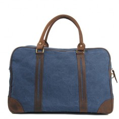 Canvas weekend duffle bag in blue/brown