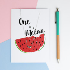 One In A Melon Greeting Card And Necklace Set