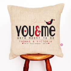 You and me personalised linen cushion cover
