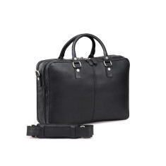 TheCultured Double Zip Leather Laptop Bag In Black